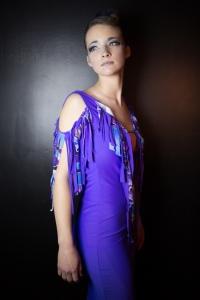 Strut 2014 Fashion Show Designer Patina model Sarah  Purple dress with fringe detail
