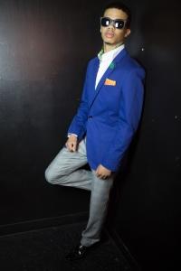Strut 2014 Fashion Show menswear model Elijah Harrigan Royal Blue sports coat with green ascout sunglasses